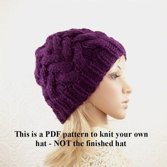 Adult Knit Hat Pattern : Knit hat pattern - adult beanie knitting pattern - PDF knitting pattern - ins...