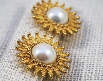 Vintage St. John Gold Tone and Faux Pearl Sunburst Starburst Burst Classic Earrings