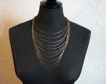 Native American Indian 10-Strand Liquid Sterling Silver Statement Necklace