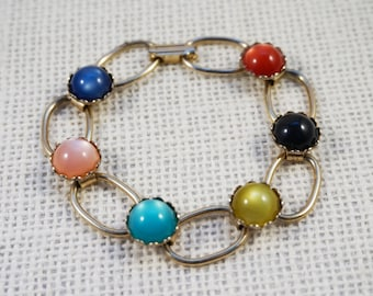 1960's Gold Tone Chain and Multi Colored Moonglow Bracelet