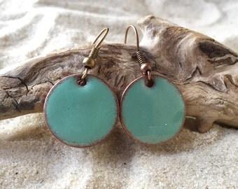 Turquoise penny earrings, turquoise earrings, penny earrings, penny pop jewelry. penny jewelry