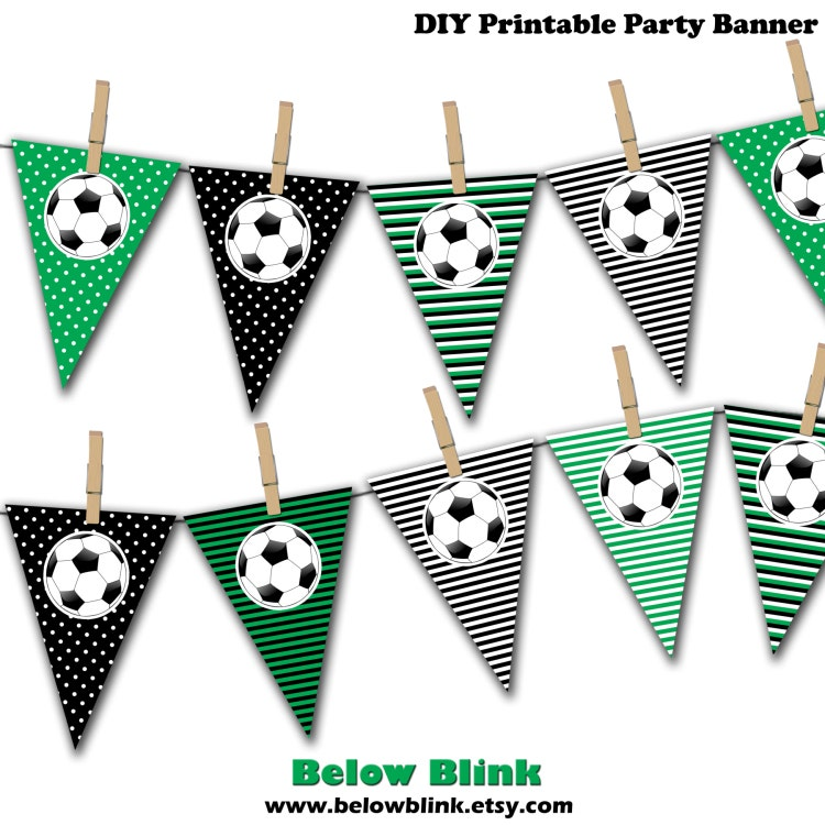 Soccer Ball Banner Soccer Birthday Printable Party by ...
