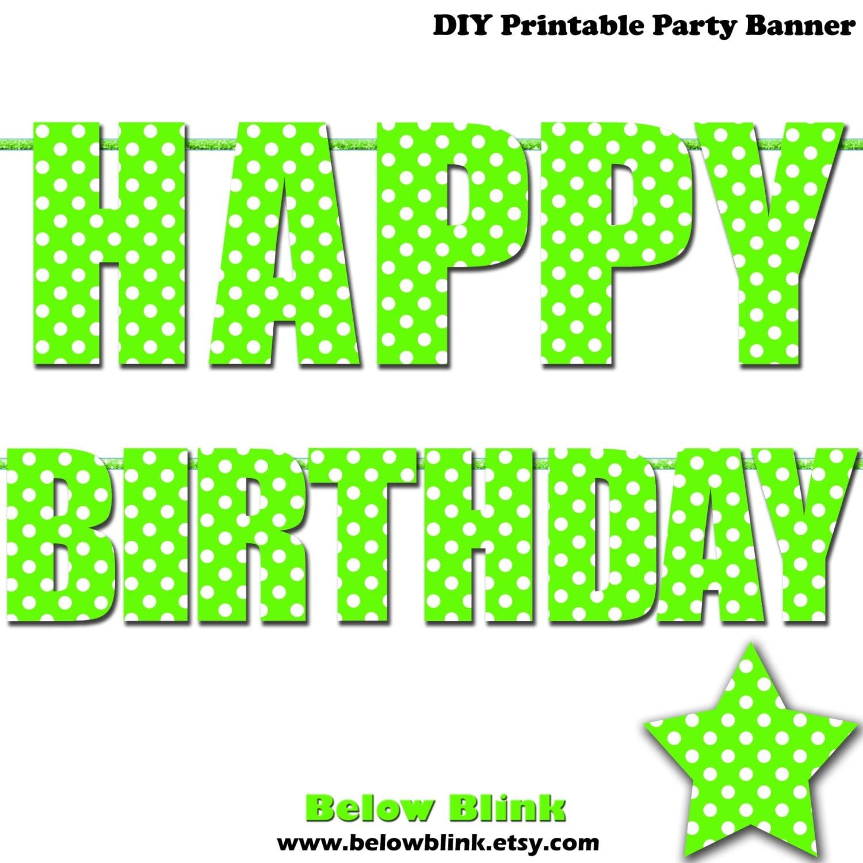 Lime Green Happy Birthday Letter Banner Lime Green Polka