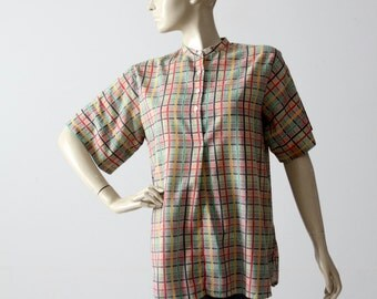 vintage 60s henley, checker plaid short sleeve cotton shirt