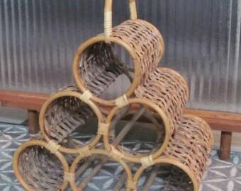 Vintage 80's Natural Rattan Wicker Wine Rack - Kitchen - Serving - Dining - Entertaining - Home Decor - Bamboo Rack - Basket