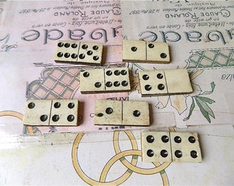 Antique set of dominoes made of white bone and ebony.