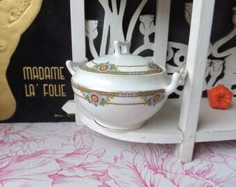 Vintage French LIMOGES Porcelain  Sugar Box 1925s/ Cottage chic/ LIMOGES/ French porcelain
