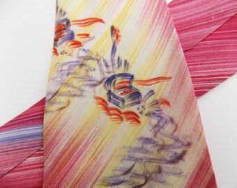 "1940s Hand Painted ""Treasure Chest"" wide men's necktie, California"
