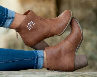 Monogrammed Ankle Boots Camel Brown