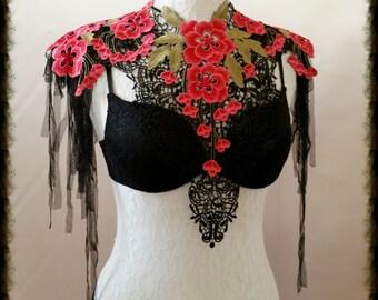 Couture  lace tattoo black bib epaulette necklace COLLAR  BURLESQUE  Gothic sexy Burning Man Festival
