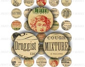 "Antique Apothecary Labels Digital Download 1 Inch Circle Pharmacy Vintage Druggist Drugstore 1"" Images Old Hair Tonic Oil Benzine Mixture"