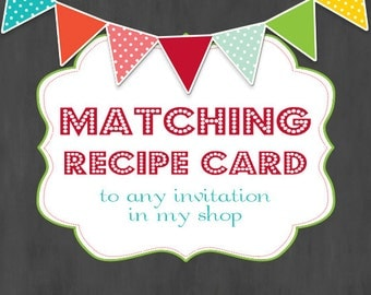 Matching Recipe Card, Printable Recipe Card, Instant Download, Kitchen Decor, Customizable Recipe Card, 4x6 Recipe Cards, Kitchen Cook Book