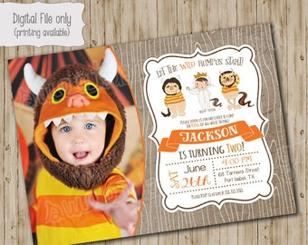Where The Wild Things Are Birthday Invitation, Wild Things Party, Wild Rumpus Invitation, King of all Wild things Invite, Photo Card