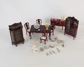 Vintage Dollhouse Furniture Mahogany Dinning Room Set with Dishes