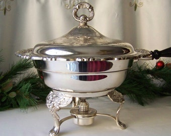 Vintage Silver Plate Chafing Dish by Oneida Silver Ornate Chafing Dish with Alcohol Burner Warmer Vintage 1970s