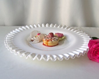 Vintage White Ruffled Plate White Art Glass Serving Plate Wedding Table Decor ca 1972