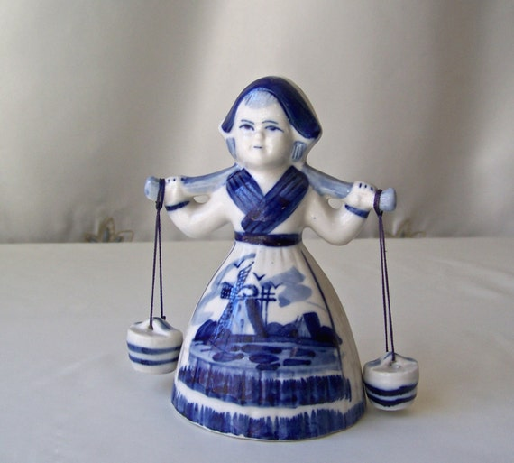 Vintage Holland Delft Blue Girl Bell With Water Pail Bells