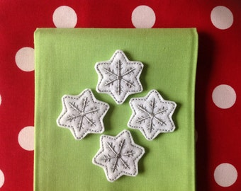 SILVER SNOWFLAKE Felt Embellishments / Appliques - Ready To Ship ~ Available Cut Or Uncut