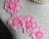 Vintage Applique - 4 pcs Dark Pink Flower Applique Trim (A318)