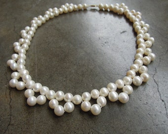 """Vintage 14k Gold and White Cultured Pearl Lace Bib Necklace 18"""""""