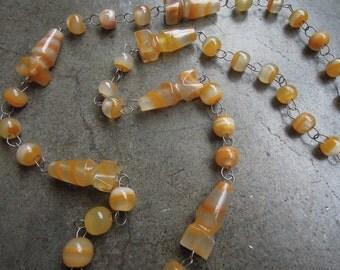 """Vtg Honey Soapstone Chain Beaded Necklace Flapper 12"""""""