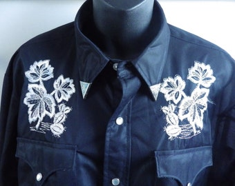 Vintage 1970s Black Embroidered H Bar C Pearl Snap Western Shirt size 44