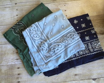 Set of Vintage Bandanas - set of three - Green and Blue