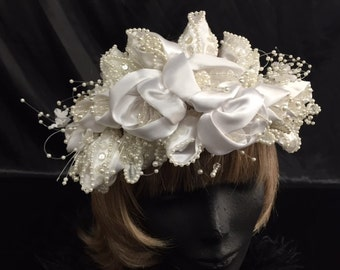 Satin flower and bead bridal headpiece