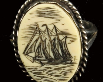 Mens Scrimshaw Ring