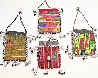 Draw String Pouch, Vintage Double Sided Pashtun Hand Embroidery Bag with Beaded Fringe from Afghanistan