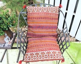 Kilim Saddle Bag Runner, Hand Woven Afghanistan Textile Seat Cushions or Floor Runner