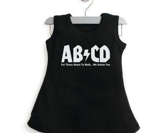 AB CD  Dress, Infant, Toddler, Girls Dress, Baby Shower, Holiday Gift, 100% Cotton Dress,  Rock Band
