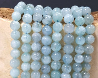 Full Strand 4 MM Natural Aquamarine Stone Smooth Round Beads - Natural Color March Birth Stone No Dyed No Heat Treated (G0242W48)