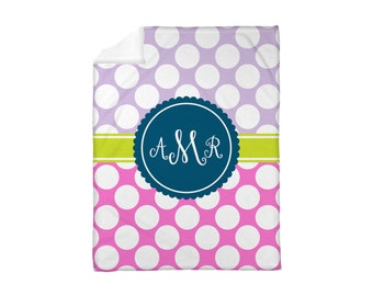 Fleece Blanket Personalized Monogrammed Polkadots Polka Dots Duo Choose Colors