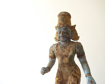 Wooden Articulated Deity Price Reduced Polychrome Statue Collector's Item Shipping Included in the U.S.