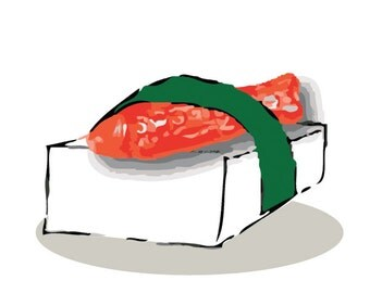 Red Swedish Fish Candy and Single Rice Sushi Illustration Art Print
