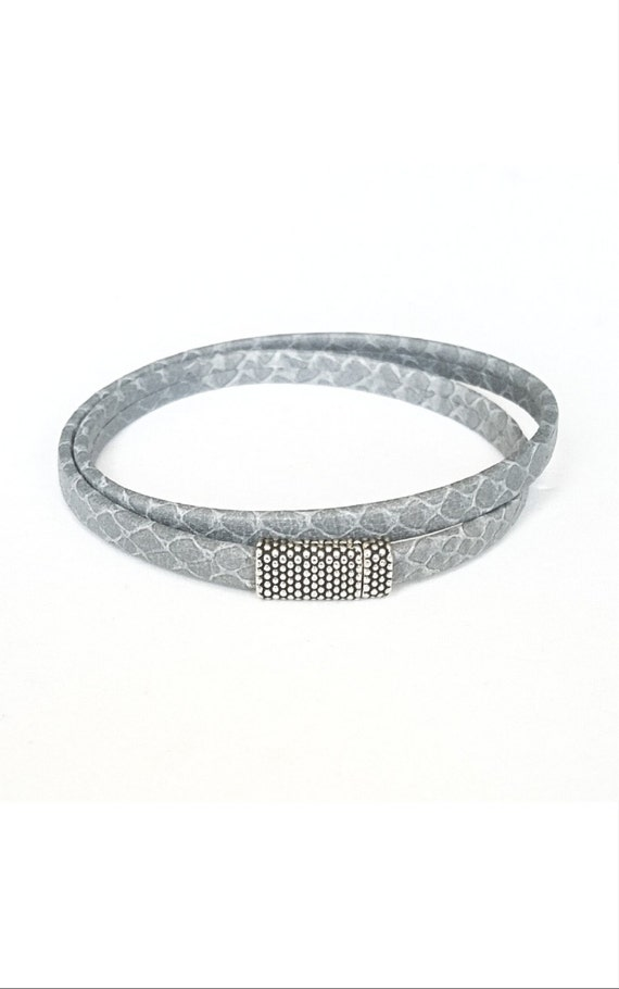 Leather Wrap Bracelet, Grey Leather Wrap Bracelet, Grey Wrap Bracelet, Wrap Bracelet, Grey Leather Bracelet, Leather Bracelet, Grey Wrap
