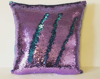 Mermaid pillow, Fully Stuffed, More colors, reversible sequin pillow, sequin pillow, cushion