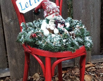 """Red Vintage Bentwood Chair decorated for the Holidays with a Christmas Message """"LET IT SNOW""""  One Piece....Chair and Snowman attached."""