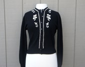 Vintage Cashmere Seed Bead Cardigan Sweater