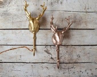 Cast Metal Deer Head Wall Hook,  Gold Silver Copper cast iron wall hook, cast iron deer hook,  towel rack keys apron