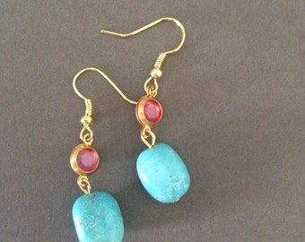 Gold turquoise an pink earrings