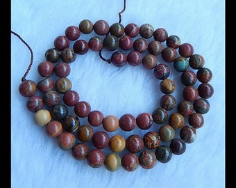 Loose Bead,Multi-Color Picasso Jasper Loose Bead,1 Strand,41cm In the Lenght,6mm,20.9g