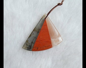 Labradorite,Sunstone,Red River Jasper Intarsia Pendant Bead,Colorful Pendant,30x30x4mm,4.6g