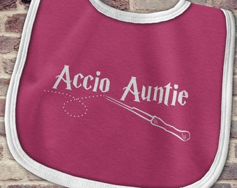 Gift from Auntie, Harry Potter Baby clothes, Accio Auntie bib, Funny Harry Potter Baby Bib, Baby gift from auntie, Auntie baby bib