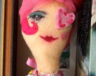 Priscilla} A Pink Pirate 50's Housewife Handmade art doll,OOAK