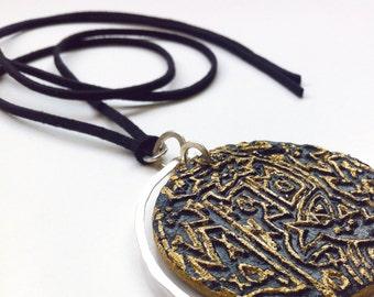 Artisan Jewelry, Mixed media necklace, OOAK Boho chic Jewelry, Paper Jewelry