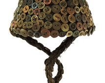 Lega Hat with Buttons on Basketry Bwami Society Congo African Art 101401