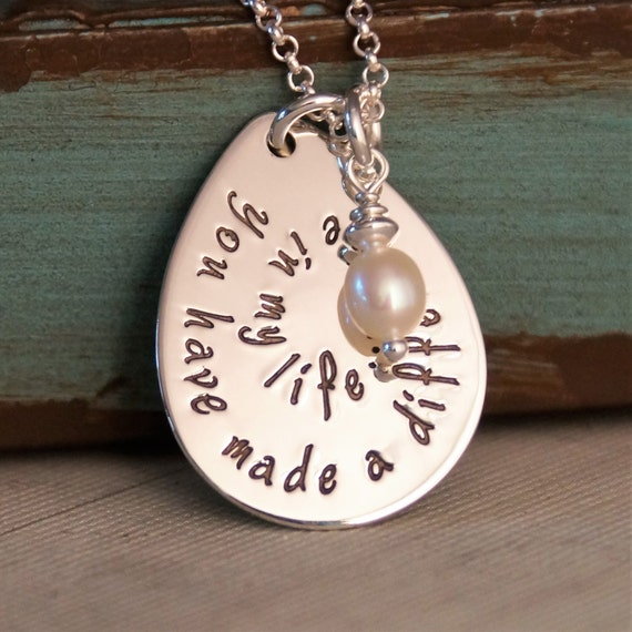 Teacher appreciation necklace hand stamped by intentionallyme for How do you make hand stamped jewelry