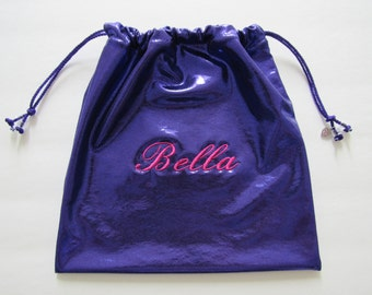 Bella Personalized GYMNASTICS GRIP BAG w/ heart charm~purple foil mystique w/ hot pink name-match 2 ur leotard Gymnast Birthday gift present